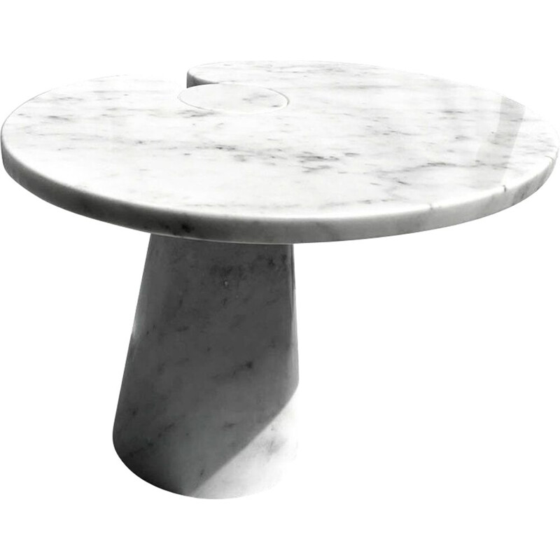 Vintage coffee table in Italian white Carrara marble by Angelo Mangiarotti, Italy 1970s