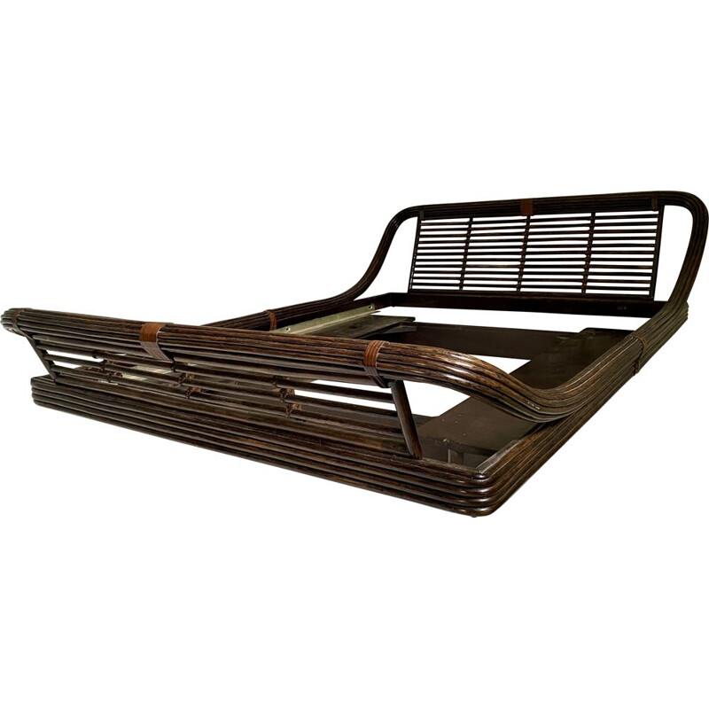 Vintage bamboo and rattan bed