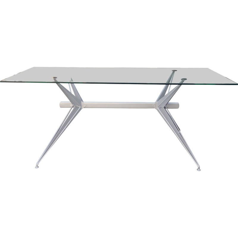 Vintage glass and steel table, 2000