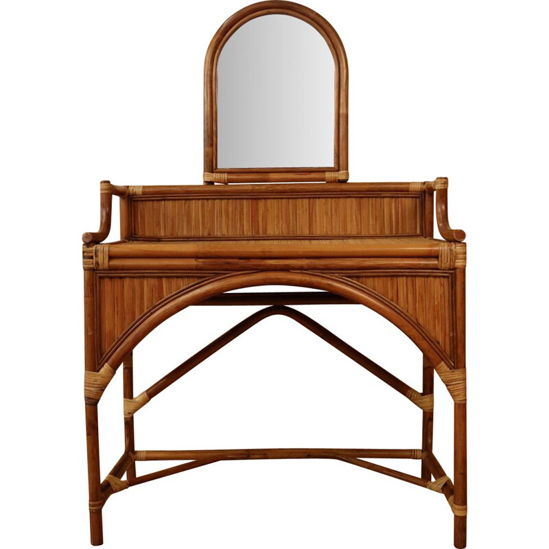 Vintage rattan and bamboo dressing table, 1970