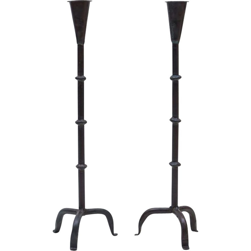 Pair of vintage French wrought metal candlesticks, 1960s