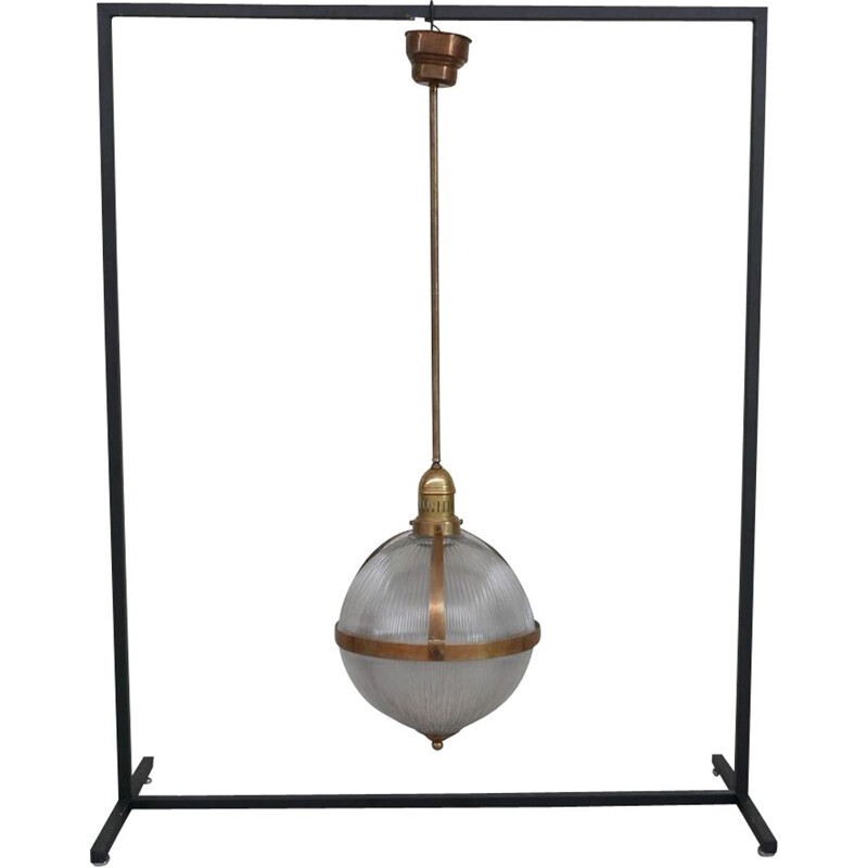 Vintage brass and glass holophane style pendant lamp, France 1970s