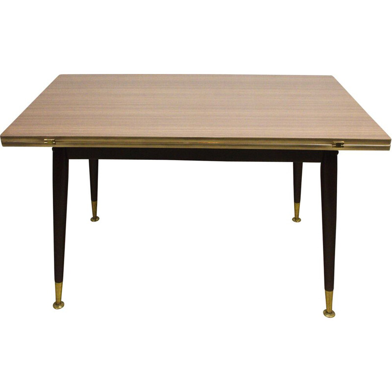 Vintage table with brass legs and hinged top, 1950s