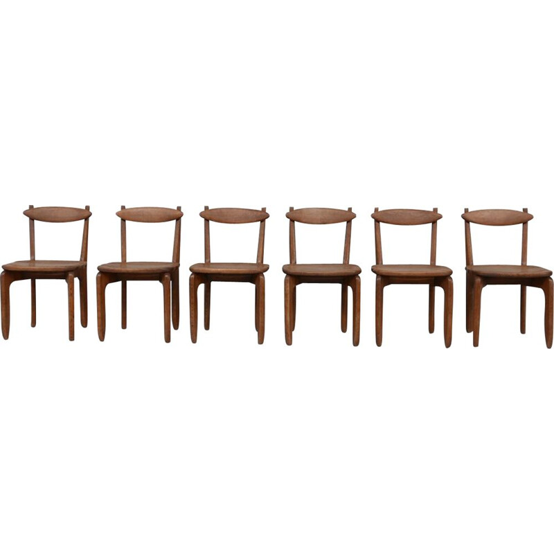 """Set of 6 vintage """"Thierry"""" dining chairs by Guillerme et Chambron, France 1960s"""
