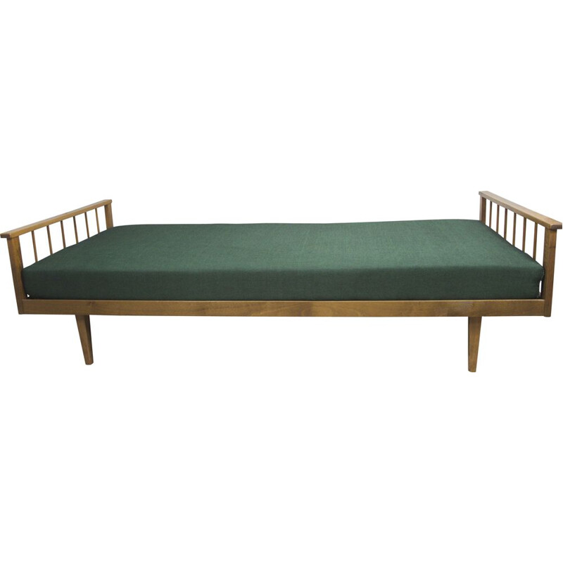 Mid century walnut daybed with green reclining surface, 1960s