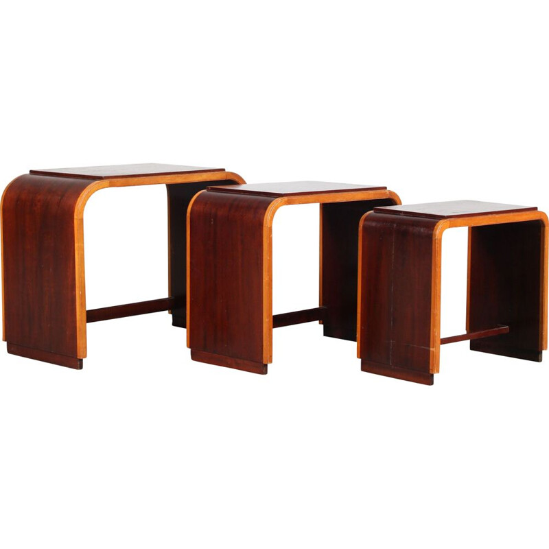 Vintage two-toned nesting tables, Netherlands 1930s