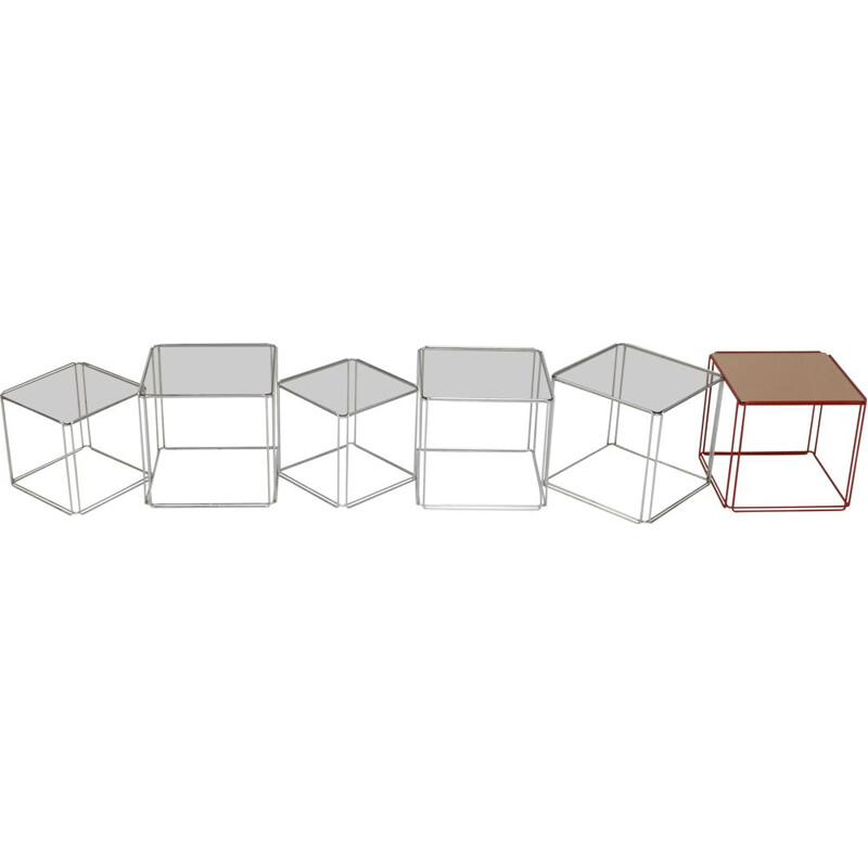 Vintage steel and glass nesting tables by Max Sauze, France 1970