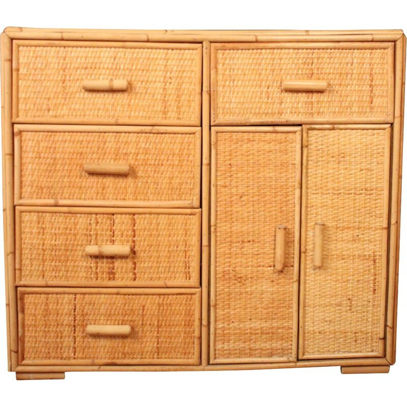 Vintage rattan chest of drawers, 1970-1980