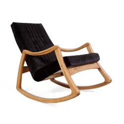Mid century rocking chair in beech and velvet - 1960s