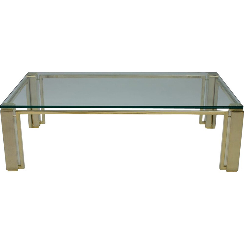 Vintage glass and gold coffee table, France 1970