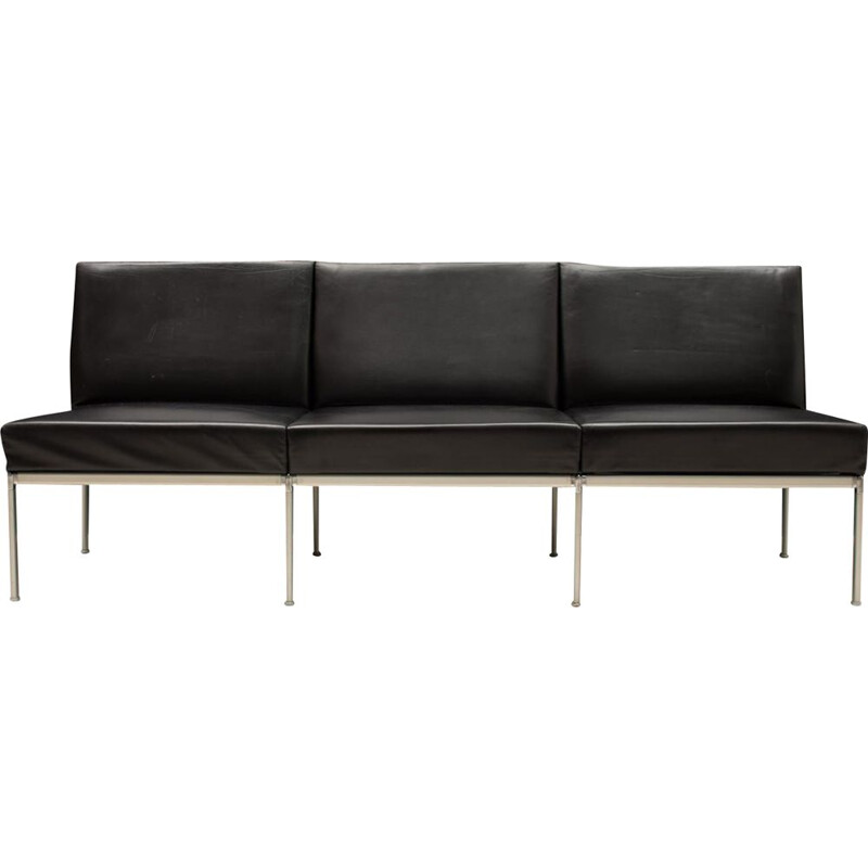 Vintage 3-seater leather sofa by Lübke, 1960s