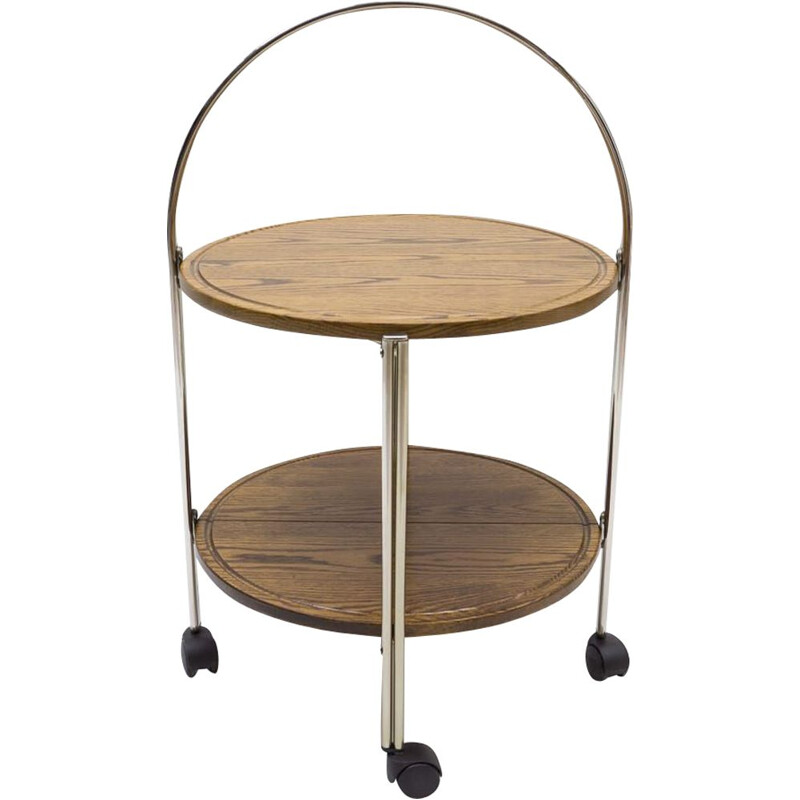 Vintage oakwood and chrome foldable serving trolley, 1960s
