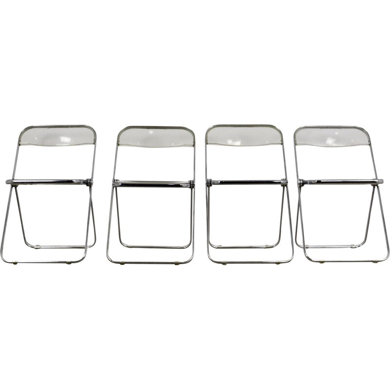 Set of 4 vintage folding chairs by Giancarlo Piretti for Castelli, 1970