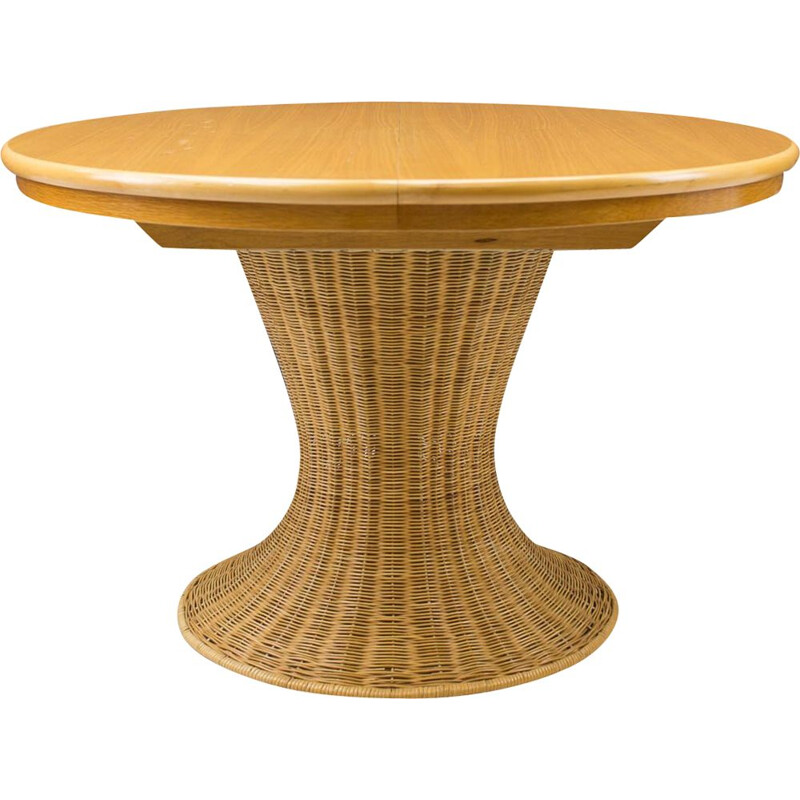 Vintage dining table in rattan and wood, Italy 1960s