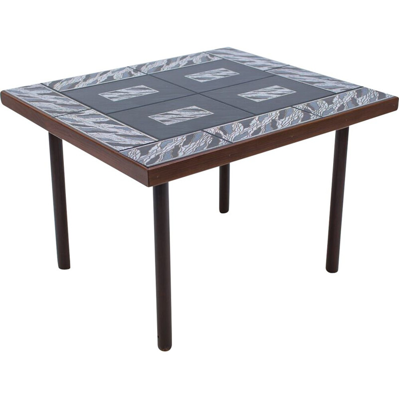 Vintage decorative side table in wood with black, gold & white ceramic tiles, 1960s
