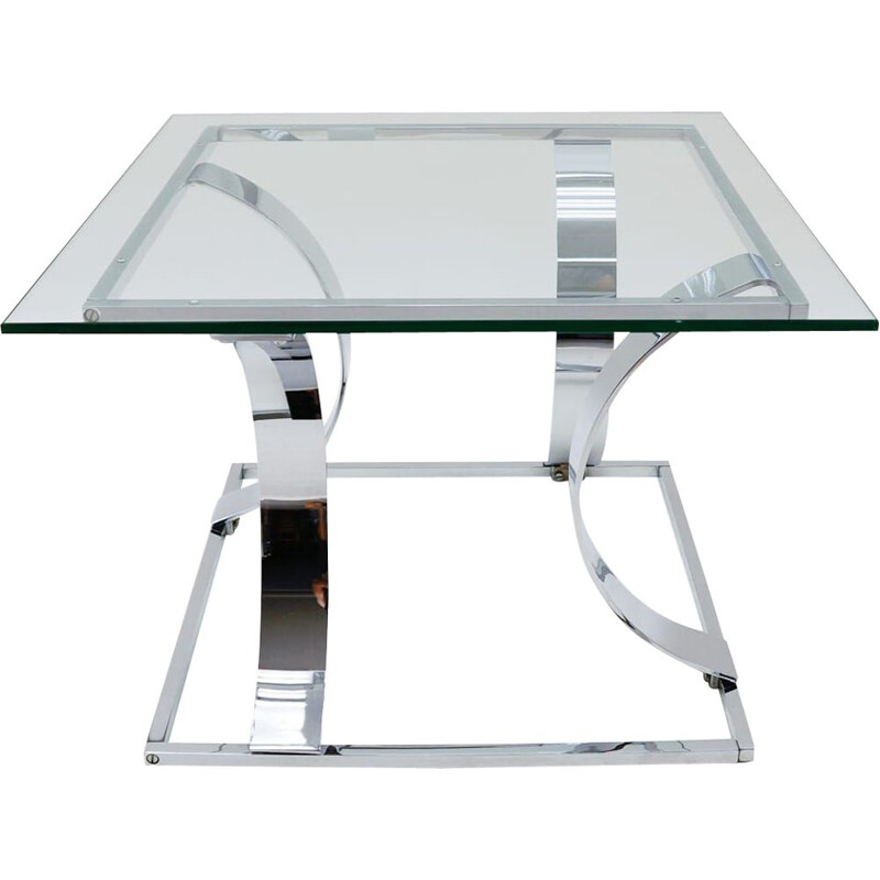Vintage square chrome coffee table, Italy 1970s