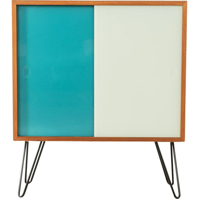 Vintage highboard with two colored glass sliding doors by Oldenburger Möbelwerkstätten, Germany 1950s
