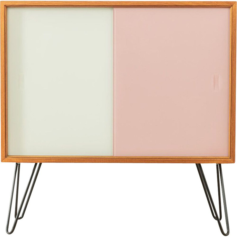 Vintage highboard with two sliding doors in pink and white by Oldenburger Möbelwerkstätten, Germany 1950s