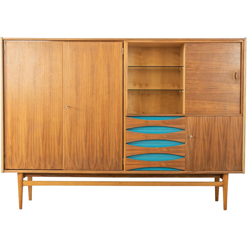 Vintage walnut highboard with a sliding glass door, Germany 1960s