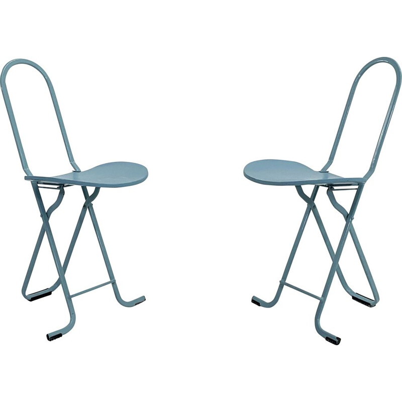 Pair of vintage Dafne folding chairs by Gastone Rinaldi for Thema, 1970s