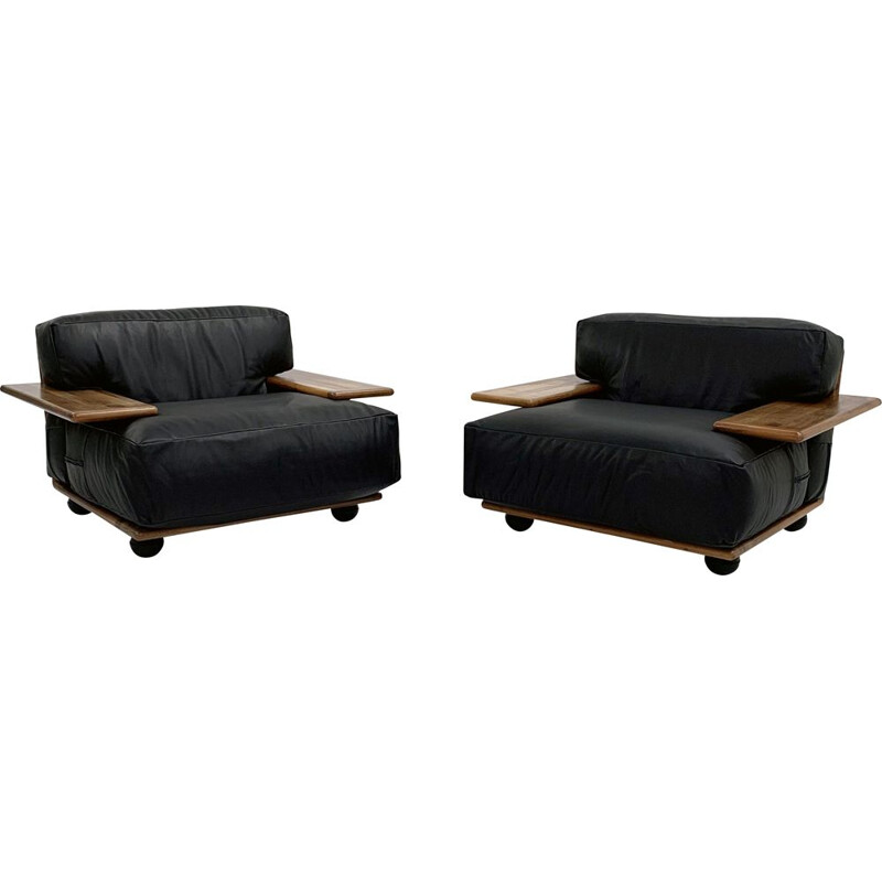 Pair of vintage Pianura armchairs in black leather by Mario Bellini for Cassina, 1970s