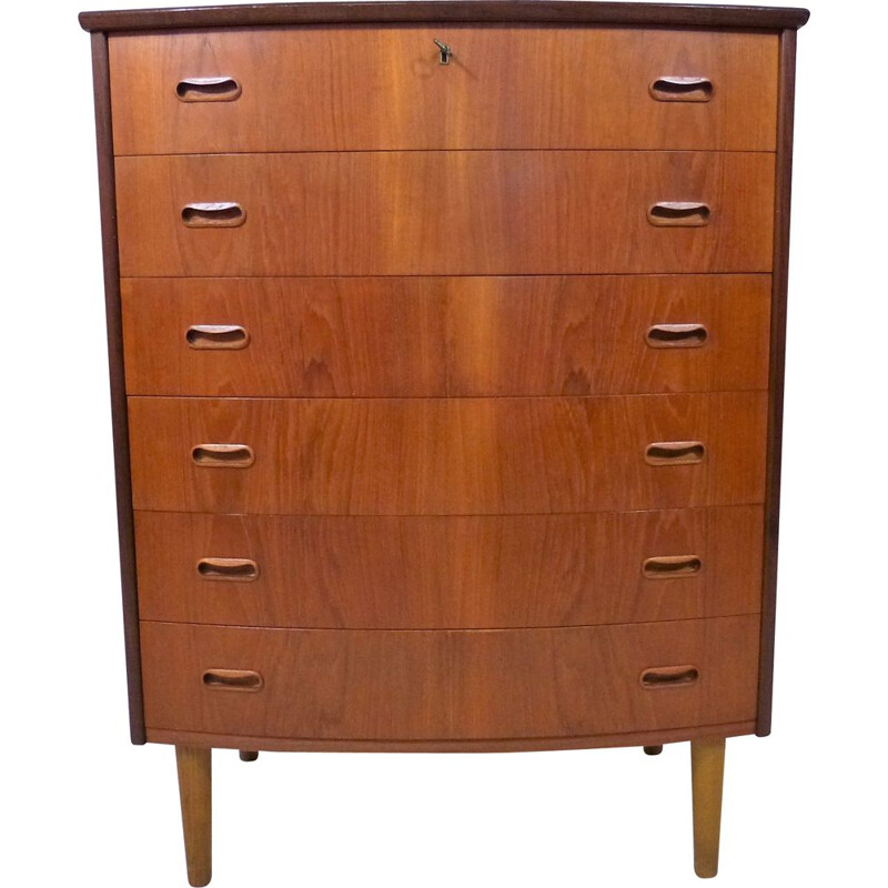 Teak vintage chest of drawers with 6 drawers, Denmark 1960s