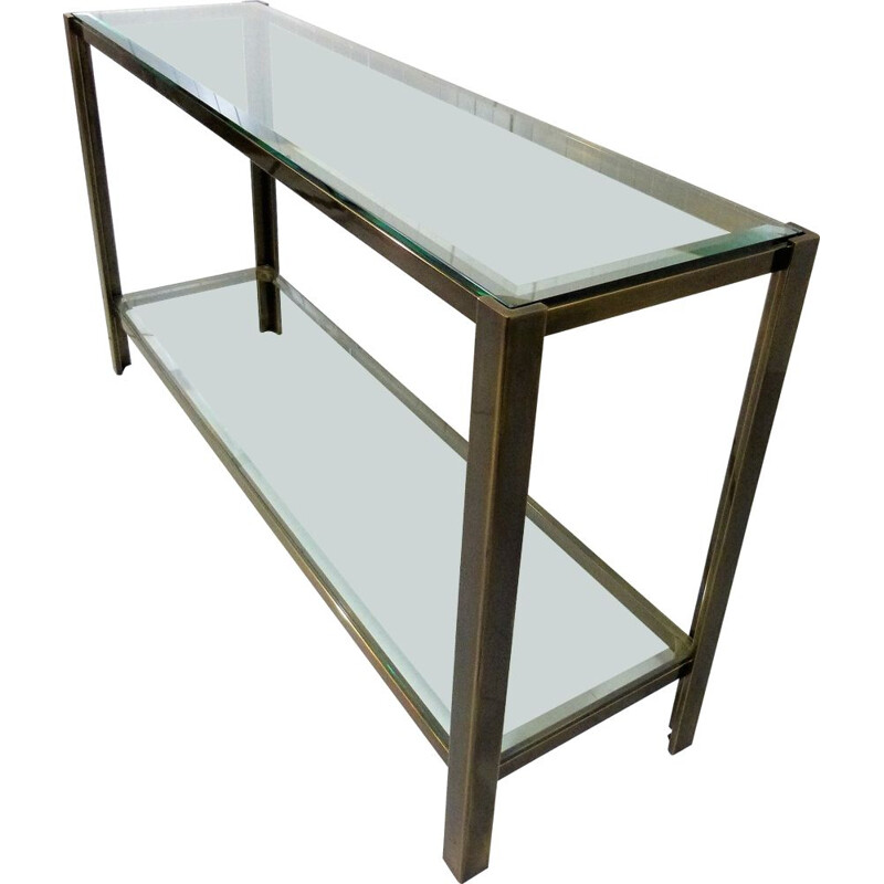 Solid bronze & glass vintage console table, 1970s