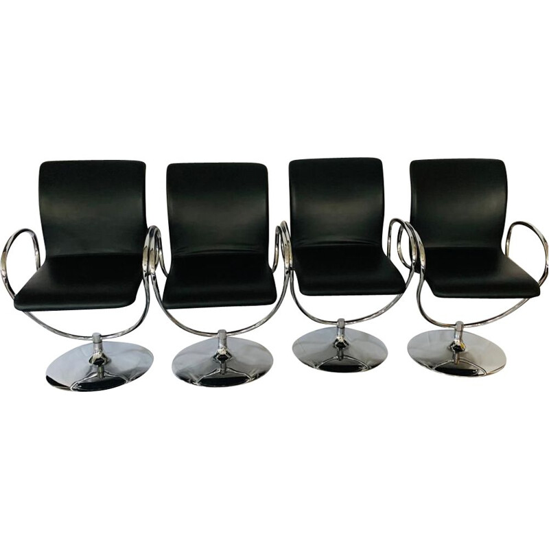 Set of 4 vintage leather and stainless steel swivel armchairs by Tonon