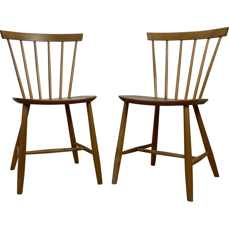 Pair of vintage chairs model J46 by Poul M. Volther for Fdb Møbler