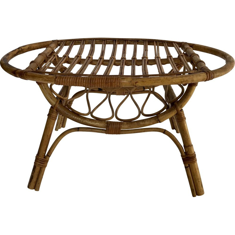 Vintage oval rattan coffee table, Italy 1950