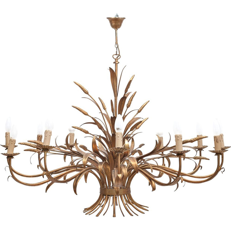 Vintage sheaf of wheat chandelier with 12 lights, Italy 1960