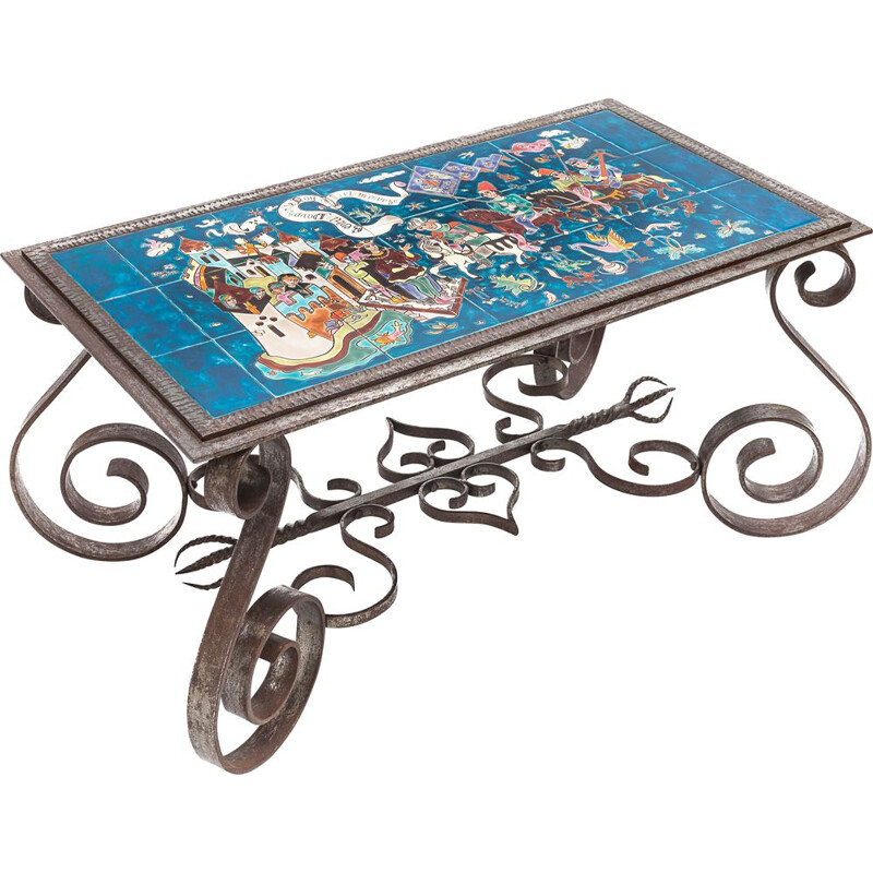 Vintage wrought iron coffee table by Wisques, 1950