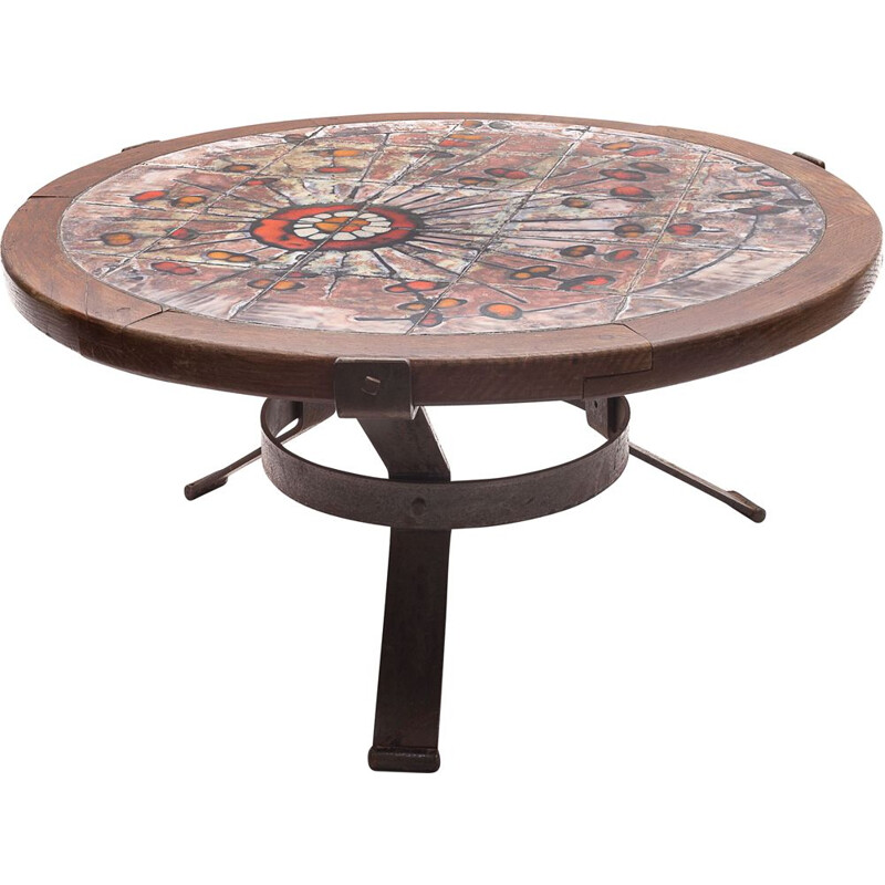 Round vintage Raynaud coffee table in polychrome ceramic and solid wood, 1960