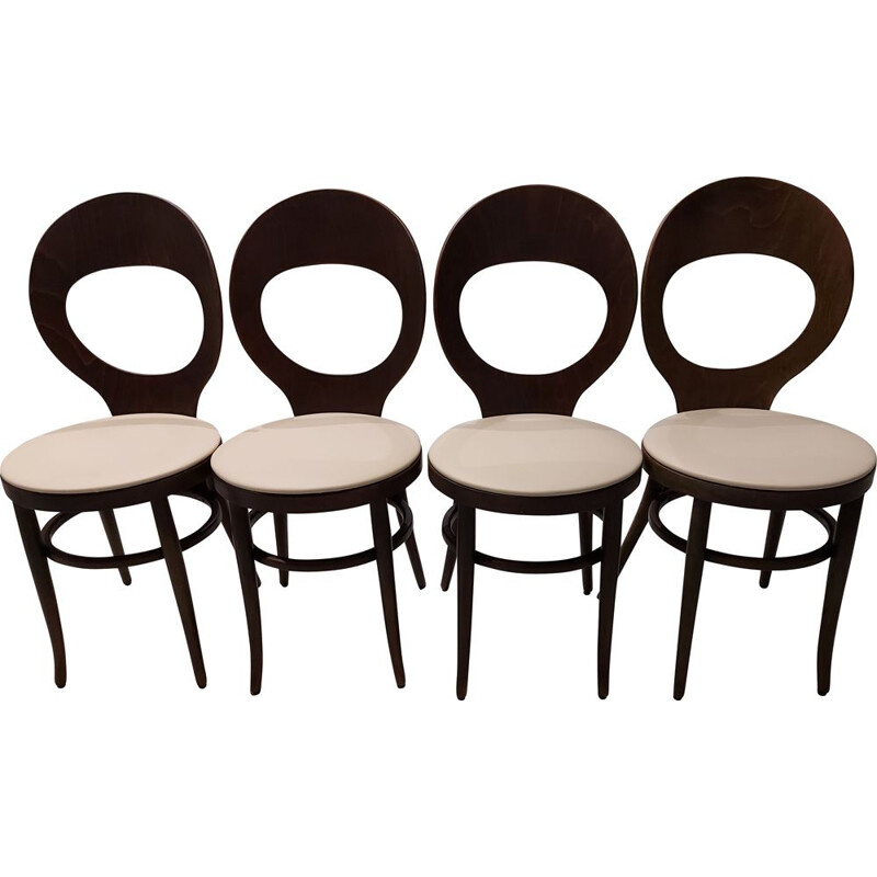 Set of 4 vintage Seagull chairs in beech and leatherette, 1970