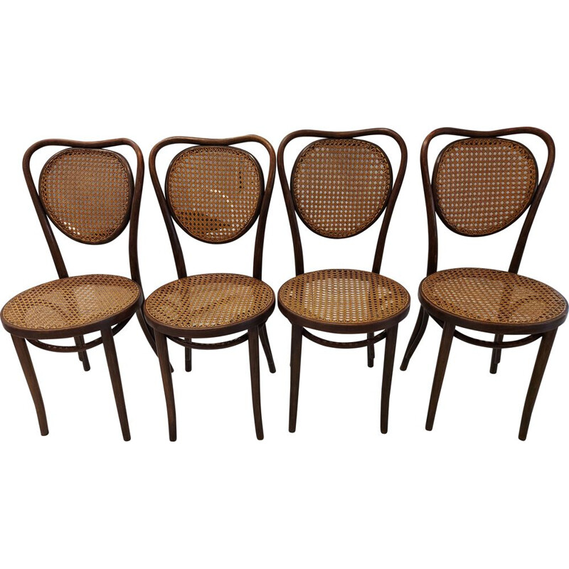 Set of 4 vintage Bistrot chairs by Thonet, Poland 1950