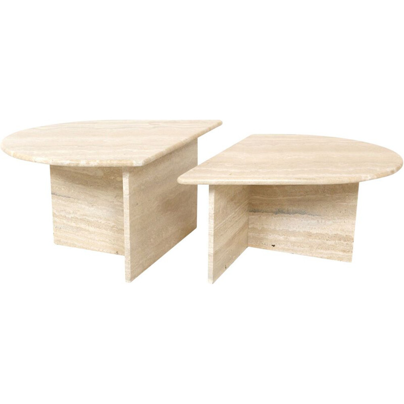 Vintage oval travertine coffee table in 2 parts