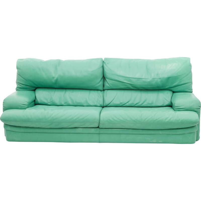 """""""Roche Bobois"""" vintage sofa in water green leather"""