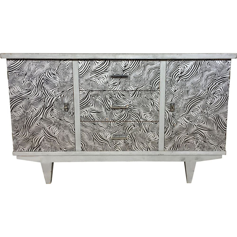 Vintage zebra print sideboard with compass legs, 1960