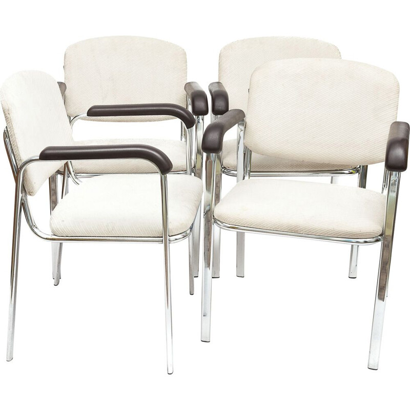 Set of 4 vintage armchairs in ivory fabric by Marcel Breuer, 1970