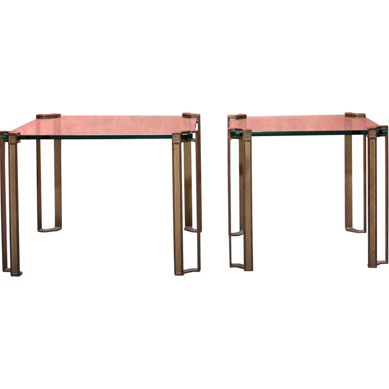 Pair of vintage brass thick faceted and glass side tables by Peter Ghyczy