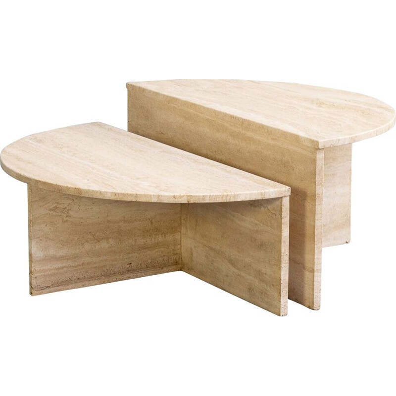 Pair of vintage round travertine coffee tables for Up&Up, 1969