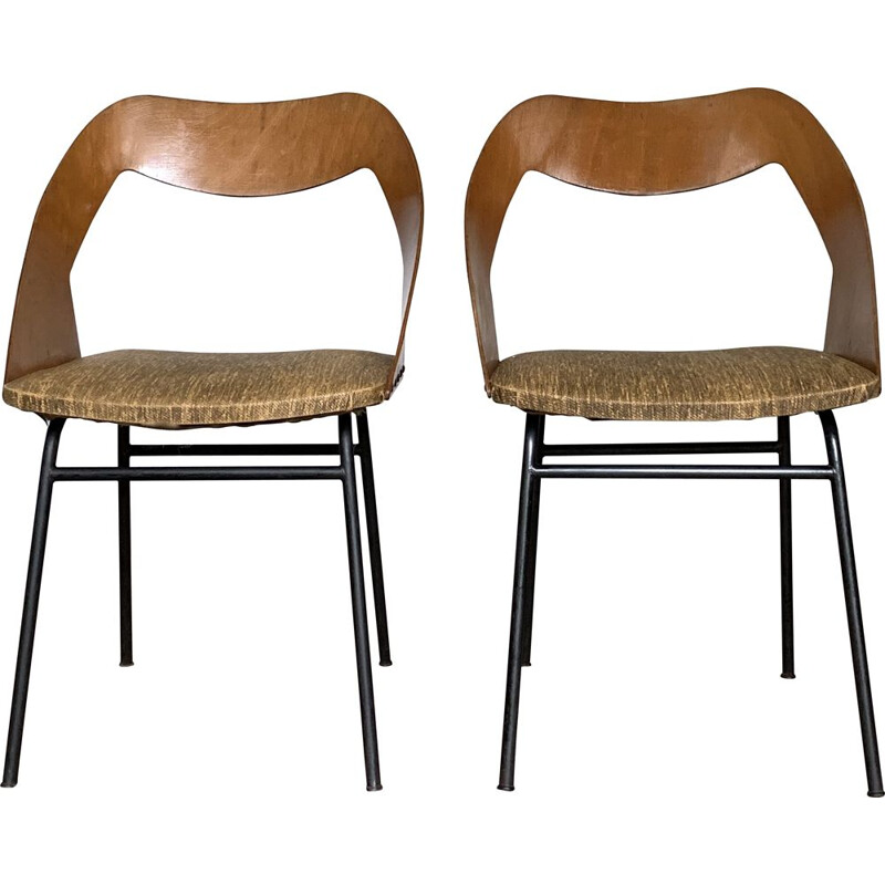 Pair of vintage chairs by Louis Paolozzi for Zol, 1960
