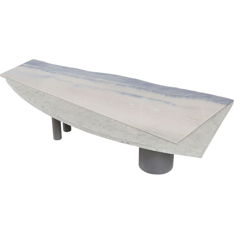 Vintage Pia Manu coffee table with a natural stone