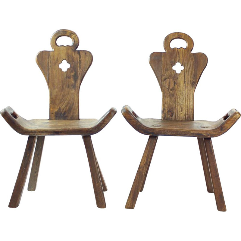 Wooden vintage handmade occassional chair, Holland 1930s