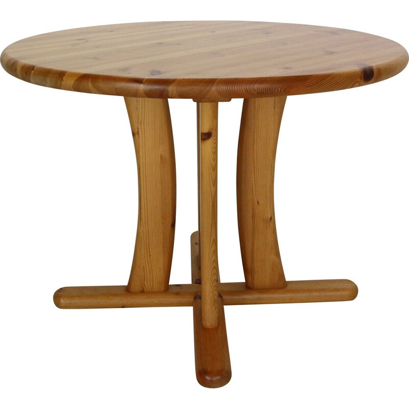 Vintage round solid pinewood dinning table, Denmark 1970s