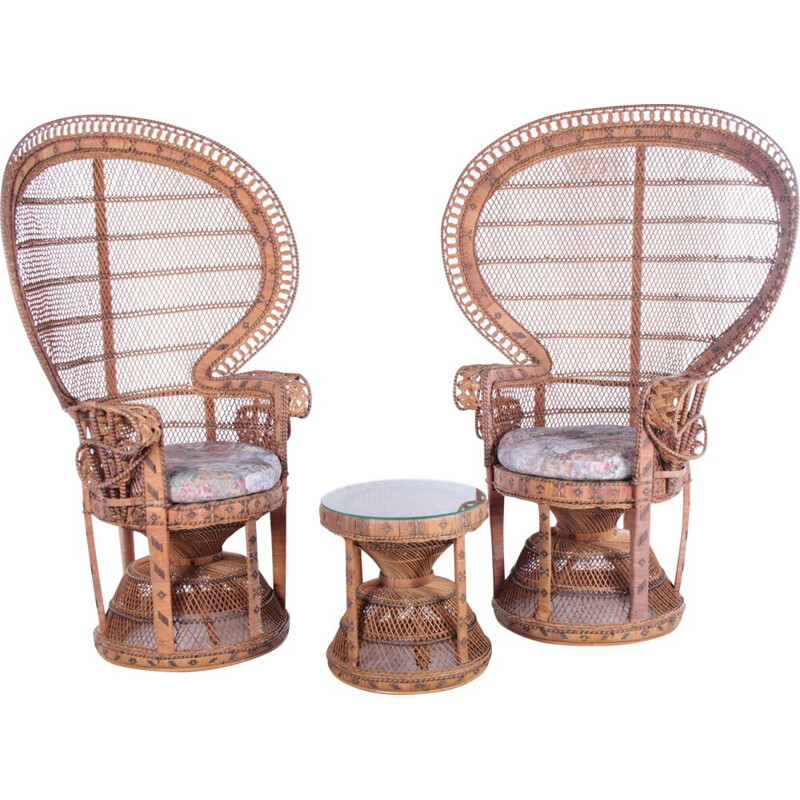 Pair of vintage King Sized Emmanuelle Peacock armchairs with side table
