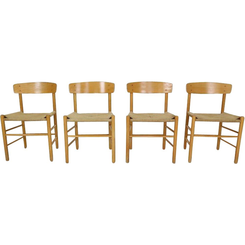 Set of 4 vintage chairs by Børge Mogensen, 1947s
