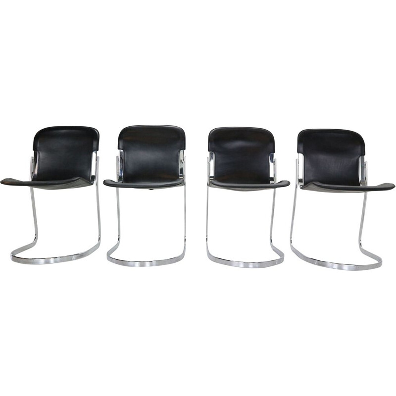 Set of 4 vintage black leather dining chairs by Willy Rizzo for Cidue, 1970s
