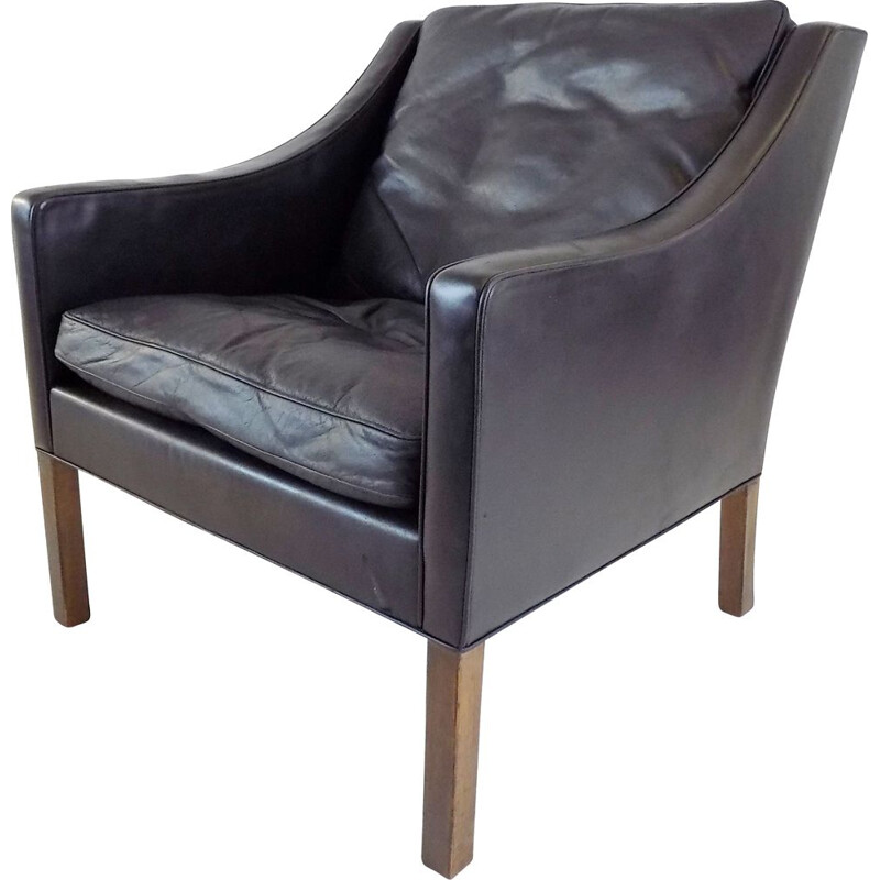 Vintage Fredericia 2207 black leather armchair by Borge Mogensen for Fredericia Furnitures, 1960s