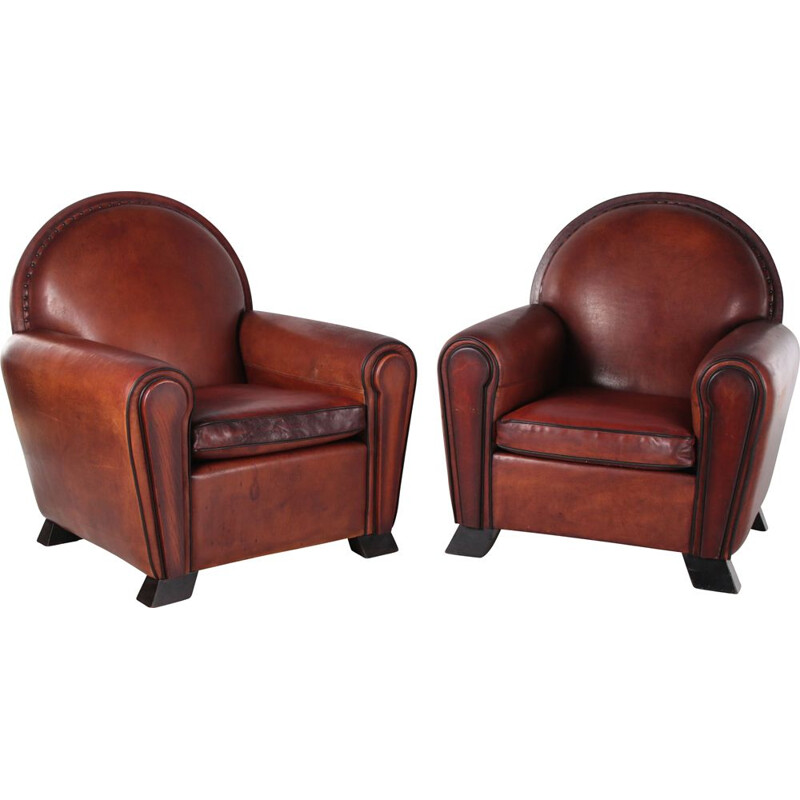 Pair of vintage sheepskin Art Deco armchairs by Lounge Atelier, 1960s